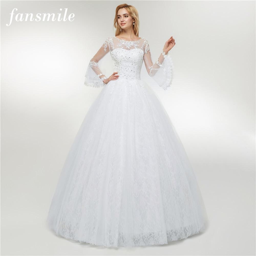 Fansmile 2019 Tulle Mariage Vestido De Noiva Lace Ball Gowns Wedding Dress Custom-made Plus Size Bridal FSM-422F