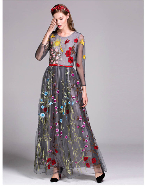 Embroidery Layered Floral Maxi Runway Dresses