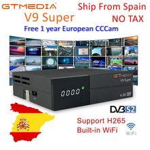 1 шт. GTMEDIA V9 Супер Спутниковый ТВ приемник DVB-S2 Full HD 1080p Поддержка PowerVu DRE и Biss ключ DLNA рецепторов PK Freesat V8 супер