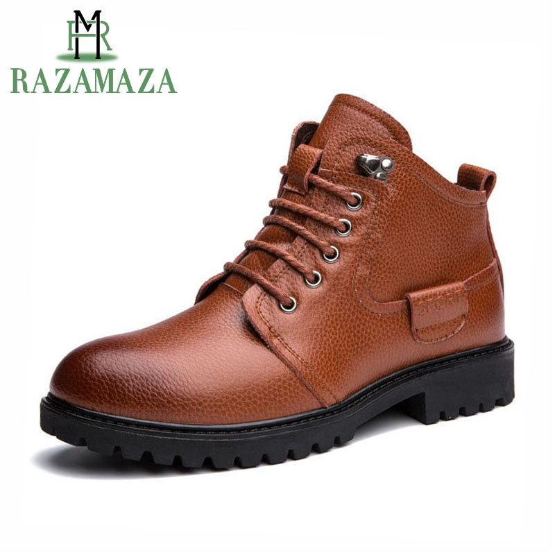 RAZAMAZA Size 38-46 Real Leather Men Shoes Short Boots British Style Winter Shoes Plush Fur Boots Warm Winter Mid Calf Footwear british style splicing and buckle design mid calf boots for men