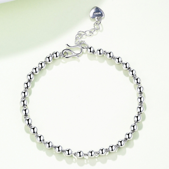 Factory Direct 925 Silver Fashion Wild Beads Bracelet Temperament Female Silver Jewelry Models Wholesale