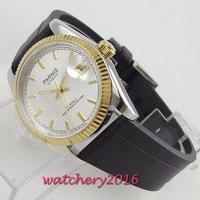 Parnis relógios Mens Relógios Top Marca de Luxo Dos Homens Vidro de Safira Relógio de Pulso de Borracha Relógio Automático Militar Relogio masculino|Relógios mecânicos| |  -