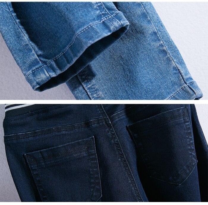LEIJIJEANS Fashion Autumn Leggings Blue S 6XL Woman Mid Waist Plus Size women High Elastic Full Length Pants Skinny pencil Jeans 17