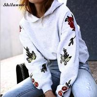 Girs Embroidery Butterfly Women Harajuku Hoodies Sweatshirts Fashion Kpop Autumn Winter Women Hoodie Causal Loose Sudadera