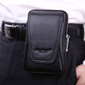 Men Cowhide Genuine Leather Waist Bag Pouch Cell/Mobile Phone Cover Case skin Hip Belt Bum Purse Fanny Pack