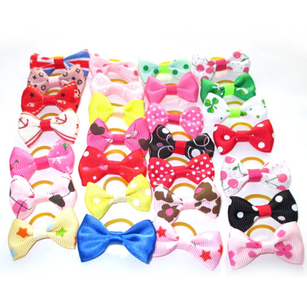20Pcs Mixed Hair Bows Rubber Bands Candy colors Fashion Cute Dog Puppy Cat Kitten Pet Toy Kid Bow Tie Necktie Clothes decoration (5)