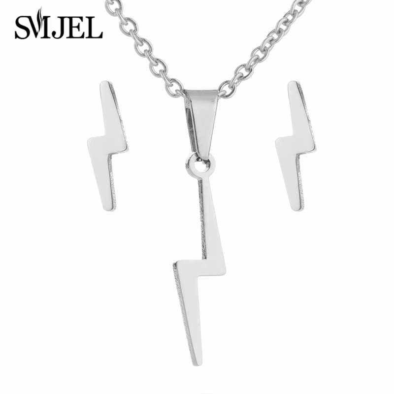 SMJEL acier inoxydable tonnerre foudre colliers pour femmes Flash flèche Harry boucles d'oreilles pour petite amie cadeaux Vintage bijoux ensemble