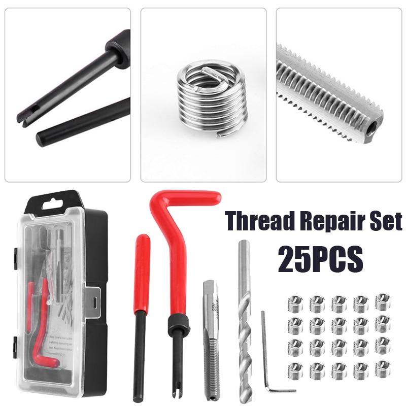 все цены на 25Pcs Thread Restore Tool Set Helicoil Repair Recoil Insert Kit M6 x 1.0 x 8.0mm онлайн