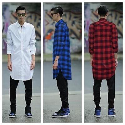 Cool Mens Longline Design Long Sleeve Plain Black White Bandana Shirt Dress Teenage Boys Red