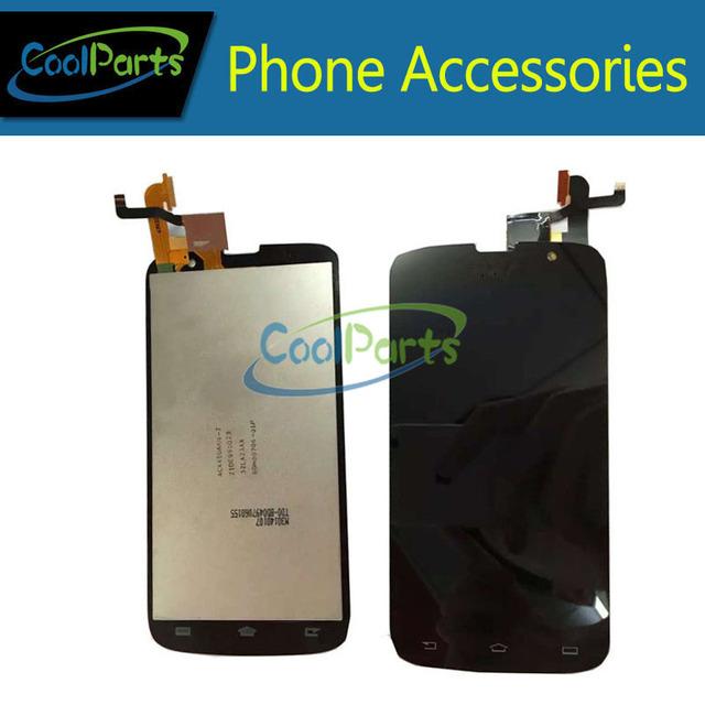 Cor preto para philips w8555 w8560 display lcd + touch screen glass digitador assembléia por frete grátis 1 pc/lote.