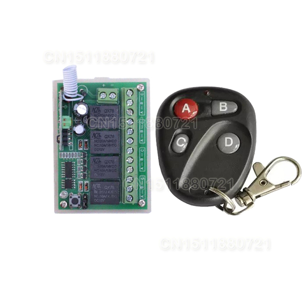 DC12V 4CH RF Wireless Remote Control Switch 315/433 MHZ Transmitter And Receiver CHINA manufacturer new dc12v 10a mini 1ch rf wireless remote control 4 receiver 4 transmitter 315 433 mhz white black remote control with abcd key