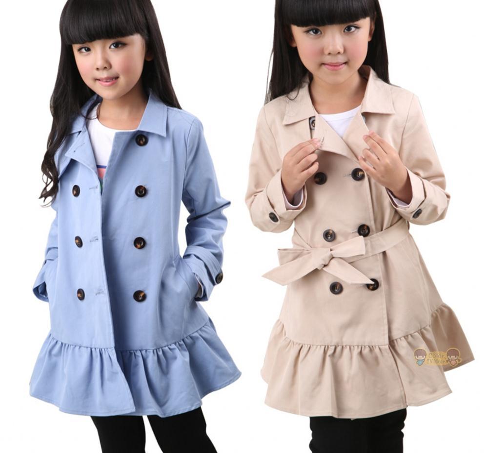 ФОТО Girl double-breasted Coat New Fashion kids Girls falbala overcoat baby Children's parka jackets