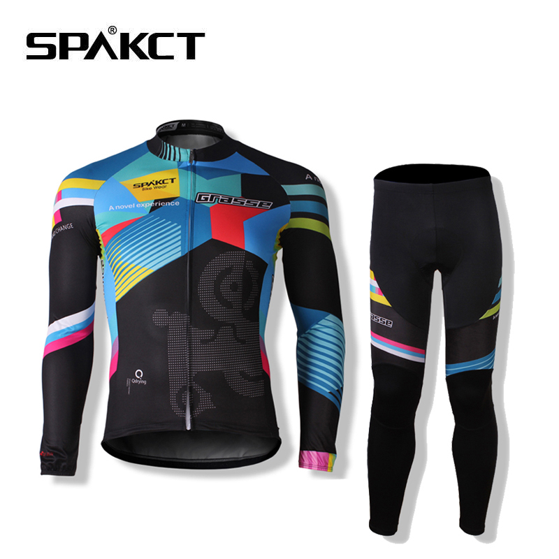SPAKCT Women Man Cycling Suits Long Sleeve Jacket  Tights Trousers Professional Ropa Ciclismo Breathable Windproof Bike Jersey santic sky cycling small raincoat windproof light jacket long sleeve cycling jersey men bike ropa ciclismo jacket m5c07014h