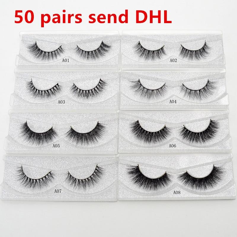 626da3f9345 50 pairs/lot 3D Faux Mink Lashes Wholesale Visofree Eyelashes Handmade  Reusable Daramtic Lashes Silk Eyelashes Makeup faux cils