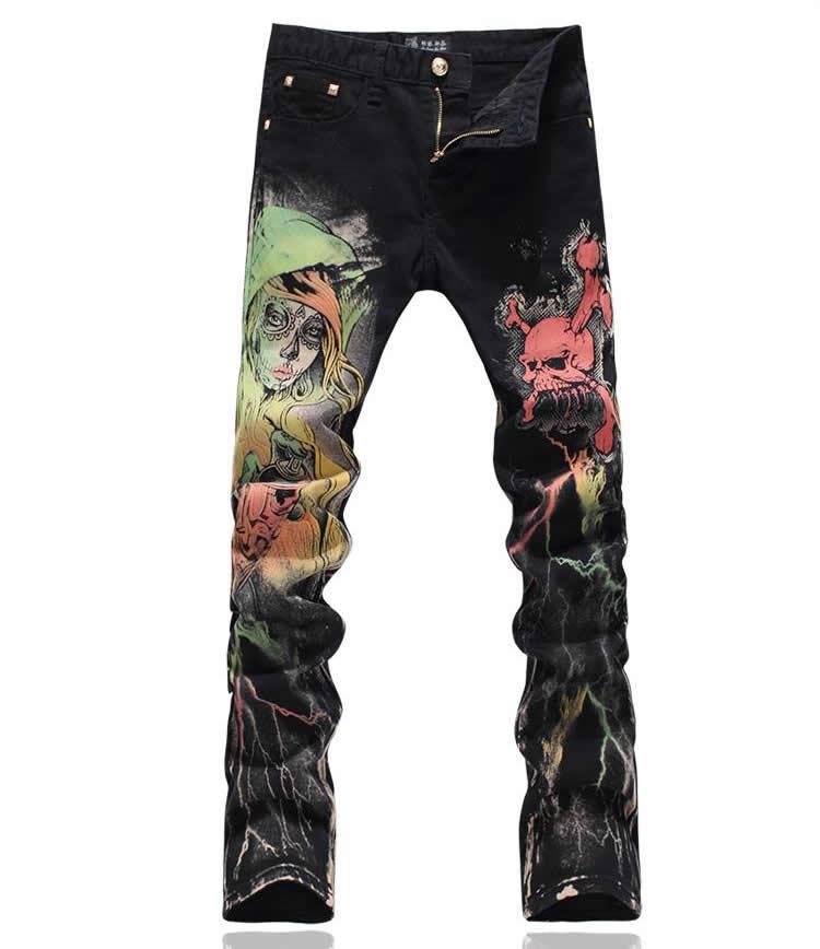 New Vintage Skull Print Black Denim Trousers Fashion Slim Jeans