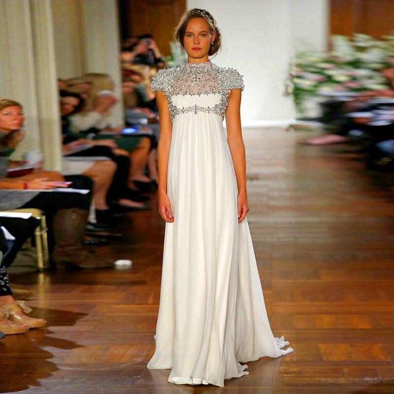 Удивительные кристалл с завышенной талией, для беременных Высокий воротник кепки рукавом свадебное платье vestido de noiva мать невесты платья дл...