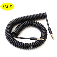 EPULA Male To Male Earphones Jack Audio Cable Black 3/10TF 4-Pole Spring Coiled 3.5mm Aux Cable W/ Mic Audio Auxiliary Cord
