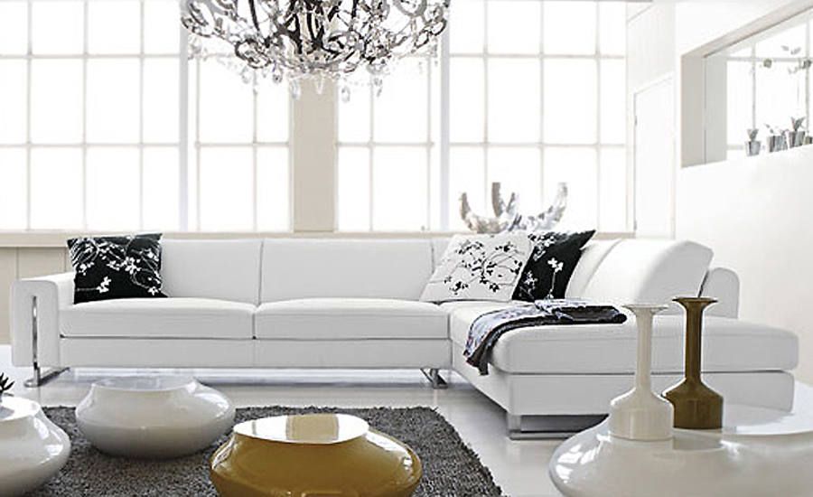 Free Shipping Small L Shaped simple white cattle leather modern sofa ...