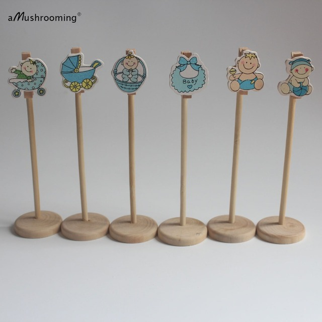 Set Of 10 Boy Baby Shower Wooden Table Decoration Wedding Birthday Numbers Holders Wood Stand