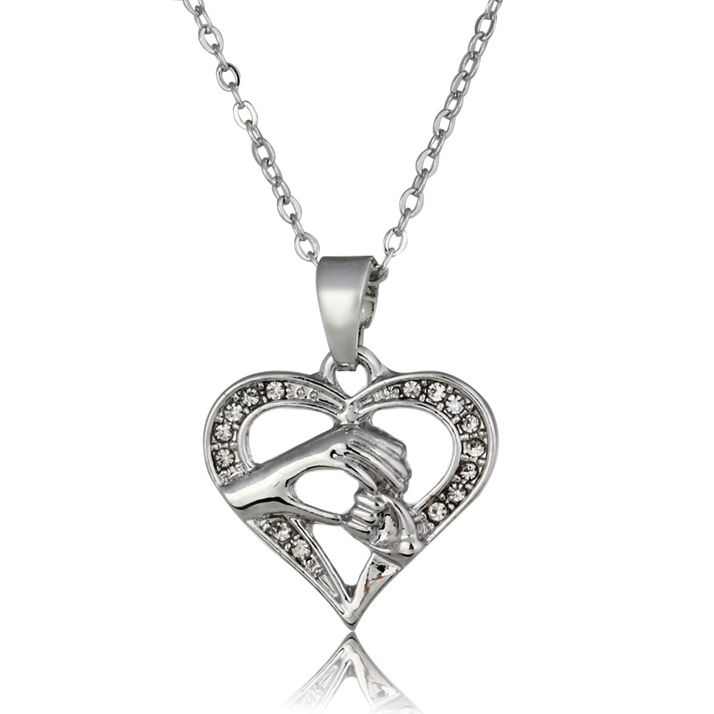 Gold silver crystal inlay heart charms mother and child pendant gold silver crystal inlay heart charms mother and child pendant necklace golden hand heart jewelry for mothers day gift in chain necklaces from jewelry aloadofball Image collections