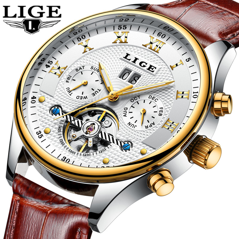 Topo de Luxo Relógio de Couro Lige Relógios Masculinos Marca Moda Esportes Mecânicos Automáticos Negócios Relógio Masculino