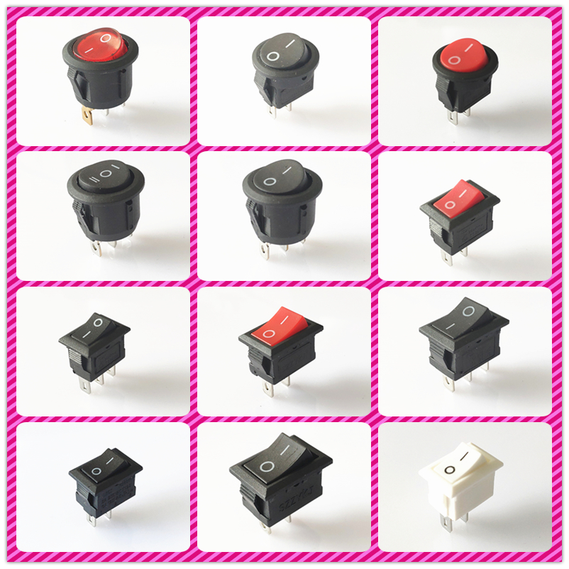 SPST KCD1 2PIN 3PIN On/Off Round/Square Boat Rocker Switch DC AC 6A/250V Car Dash Dashboard Plastic Switch Dropshipping