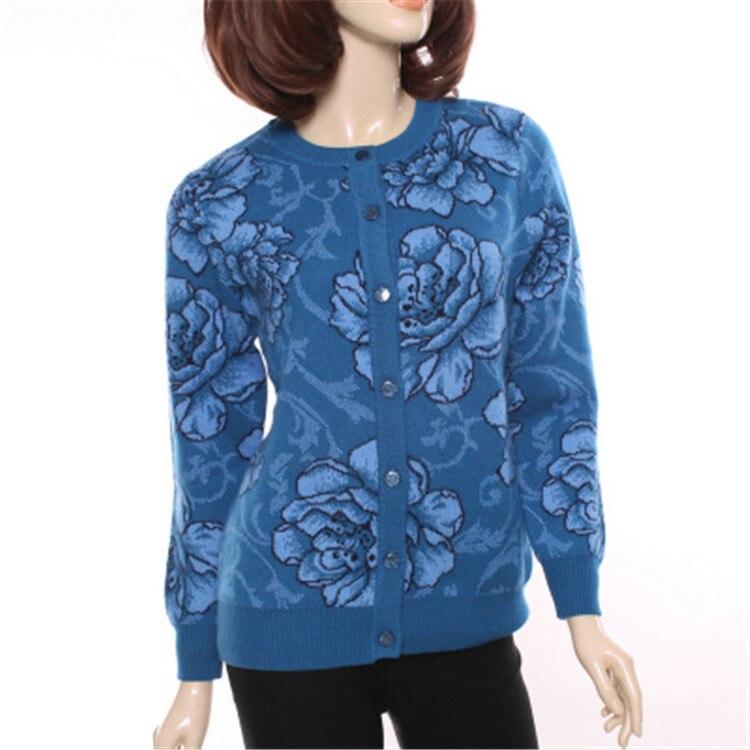 Grande taille 100% de chèvre cachemire épais tricot de mode imprimé cardigan chandail manteau Oneck pour mid/vieux femmes S-4XL de détail en gros
