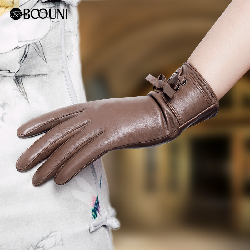 BOOUNI Genuine Leather Women Gloves Autumn Winter Plus Velvet Fashion Slim Hand Warm High Quality Sheepskin Gloves Female NW725