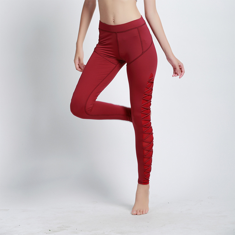 2018 Fitness Mesh Rope around Womens Leggings Black Cut Out Lattice Detail High Waist Leggings Workout Pants for Women
