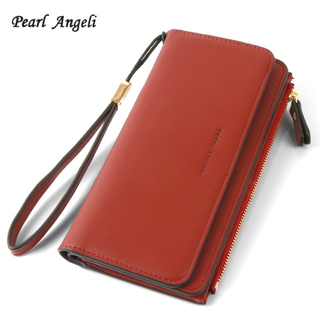 Pearl Angeli Wallet Women for Credit Cards Zipper Pouch Long Style PU  Leather Lady Clutch Purse 87524dcbc662