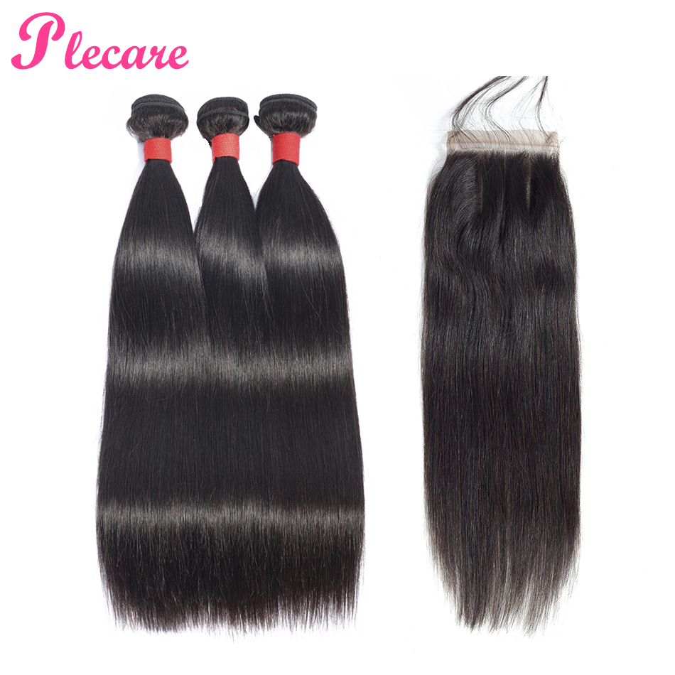 Plecare Closure Human-Hair-Weave-Bundles Straight Hair 3-Bundles Brazilian with Non-Remy