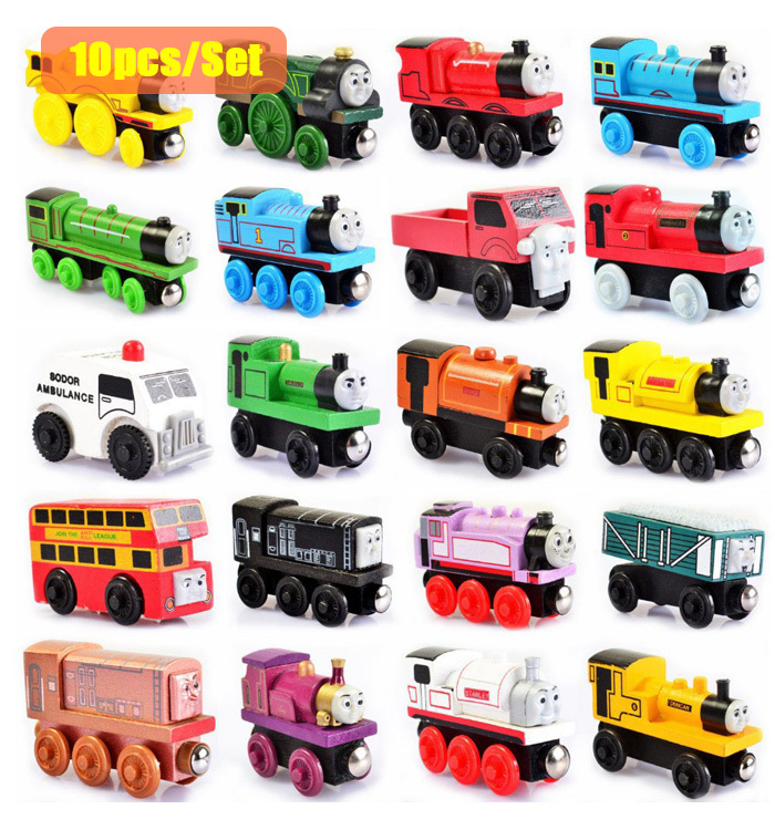 10pcs/lot Wooden Magnetic Thomas Train Figure Toys Children's Educational Toys Thomas Train Send in randomly