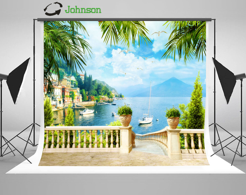 Sky Clouds Sea Beach Coastal Patio Cottage Leaves Boat backdrops polyester or Vinyl cloth Computer print wedding Backgrounds