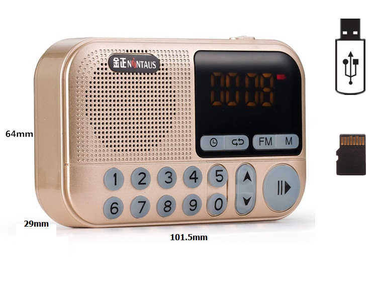 Pocket Radio FM Radio Mini Portable Rechargeable Radio Receiver Speaker Support USB TF Card Music MP3 Player Gift for Old Good