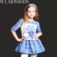 Presale 2014 New Autumn Girl Print Dress Brand Children Princess Dress Top Designer Baby Kids Girls
