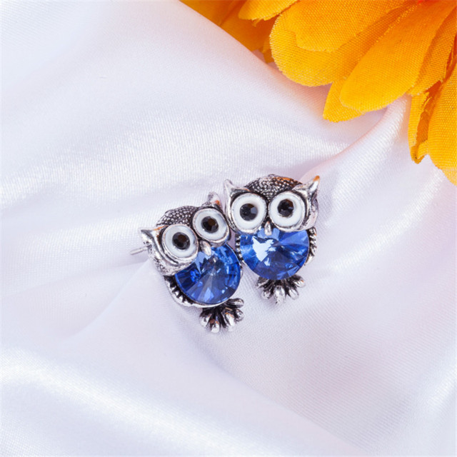 Women Trendy Fashion Crystal Owl Stud Earrings Charms Owl Stud Earrings