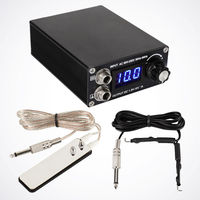 Yüksek Kalite Siyah LCD Dövme Güç Kaynağı w/Klip Kordon ve Paslanmaz Çelik Ayak Pedalı Dövme Makinesi Kaynağı Için -- TP-031