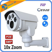 Mini Bullet PTZ IP Camera 5MP Super HD POE IP Camera Pan/Tilt 10x Zoom Onvif P2P H.264/H265 Cameras For xmeye 48V POE NVR CCTV