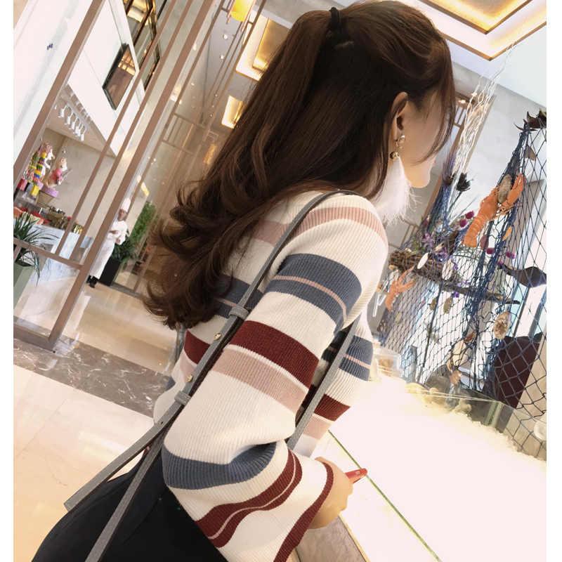 Mishow 슬림 레인보우 줄무늬 스웨터 점퍼 니트웨어 2019 봄 o-넥 플레어 fleeves pulovers 표준 여성 톱 MX17C5112