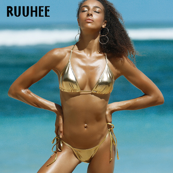 RUUHEE 2017 Swimwear Women Swimsuit Sexy Bikini Low Waist Bathing Suit Bikini Set Metal color Female Thong Beachwear With Pad 1