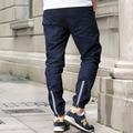 #1713 2016 3M Reflective pants men Fashion Harajuku Hip hop pants Vintage Slim Casual Men clothing Men joggers Side zipper pants