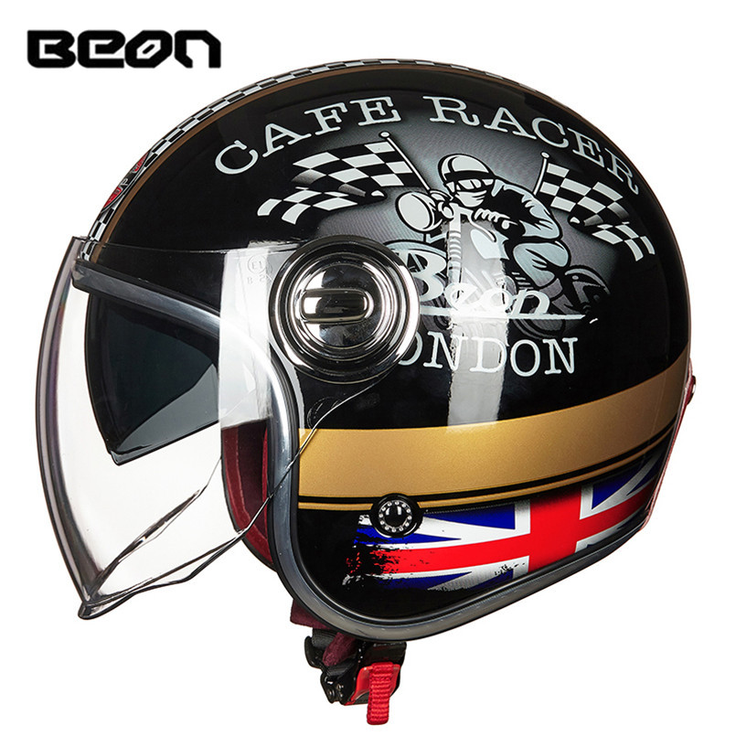 BEON Dual Visors Motorcycle Helmet Open Face Vintage Cafe Racer Vespa Retro Moto Scooter Harley Bike Motor Helm HelmetsBEON Dual Visors Motorcycle Helmet Open Face Vintage Cafe Racer Vespa Retro Moto Scooter Harley Bike Motor Helm Helmets