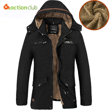 ACTIONCLUB Winter Casual Mens new Jacket winter Coats Army Green Outwear Military Cotton Jackets Winter Jacket Men Parka Thermal