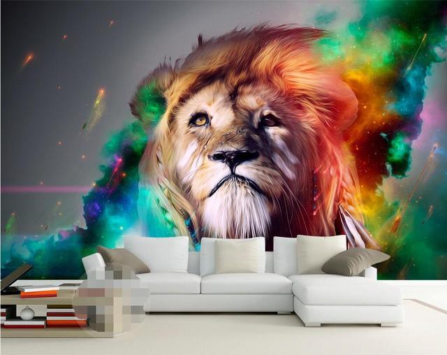 Moderne Peinture Lion Africain Aquarelle Style Papier Peint Chambre ...