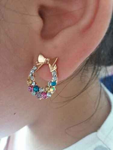 2018 New Colorful Imitation Crystal Rhinestone Bow Stud Earrings