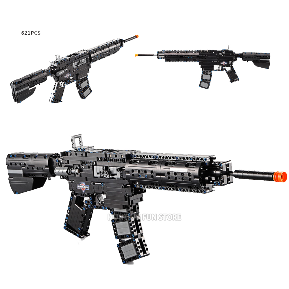 621pcs Military M4A1 Carbine Rubberband Gun Model Building Block Bricks Assemblage Toys For Kids Gifts Compatible