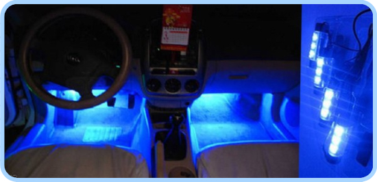4x3 Led blau auto auto gebühreninnenlicht 4in1 12 V Glühen ...