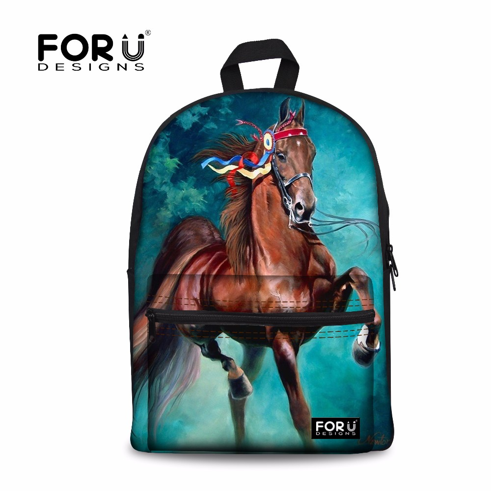 FORUDESIGNS Horse Backpacks for teenage girls school bags shark printing backpack women mochila feminina adult bagpack students