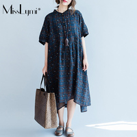 Misslymi xxxl 4xl زائد الحجم المرأة الكتان الملابس 2017 كوريا الأزياء وجيزة منقوشة الكبير هيم الأزرق اللباس الصيف الشاطئ اللباس الإناث