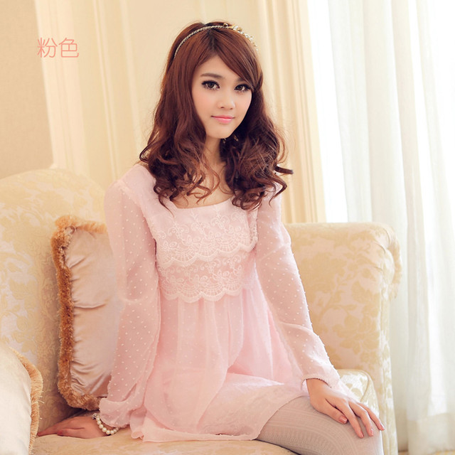 Real pictures with model female sweet loose solid color chiffon elegant slim lace one-piece dress